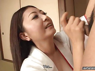 Asian milf sucking his cum off for a mouth slurp